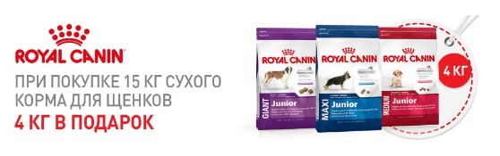 15+4 на корм для собак Royal Canin